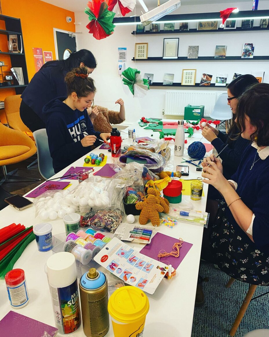 We prepared for Christmas Day by hand crafting all our decorations and making our common room worthy of a visit from Santa 🏼 . . . student studentlife students crafting christmasdecor