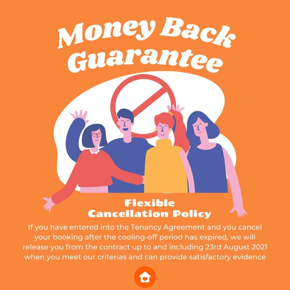 If you're worried about the canceling your booking, read our conditions carefully, as you might get your money back 🤩 1️⃣ If you have entered into the Tenancy Agreement and you cancel your booking after the cooling off period has exp